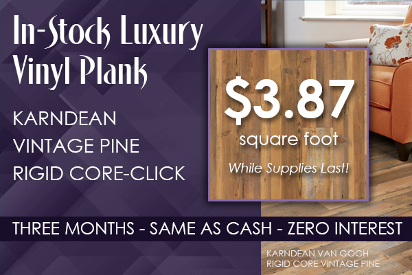 In-stock Karndean Vintage Pine Rigid Core-Click luxury vinyl plank $3.87 sq.ft. while supplies last!