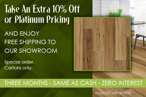 Take an extra 10% off or platinum pricing and enjoy free shipping to our showroom!  special order, cartons only.  Three months same as cash 0% interest financing available w.a.c.